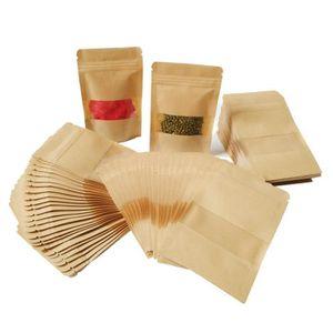 50Pcs 14*20cm Sac De Fermeture à Glissière Sachet Zip Kraft Papier  Alimentaire Petit Pochettes Avec Cran Et Matte Fenêtre