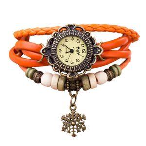 MONTRE Quartz Weave Autour cuir Snowflake Bracelet Lady f