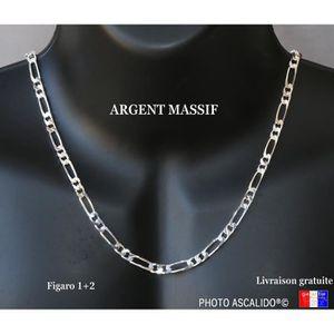 56358a1034a CHAINE DE COU SEULE Chaine en Argent pour homme maille 5mm figaro 1+2