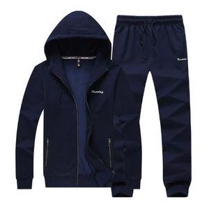 3a400ebb119 Ensemble de survêtement Homme Uni avec Capuche Sportswear Jogging Fashion  Sweat Noir Bleu marine - Achat   Vente ensemble de vêtements - Cdiscount