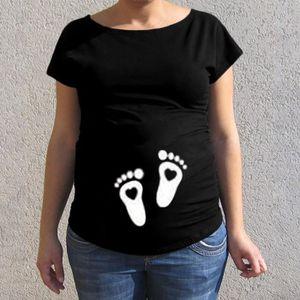 97ef314b8c358 T-SHIRT Femmes de maternité à manches courtes Cartoon Impr