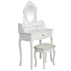COIFFEUSE  Moderne Coiffeuse avec miroir et tabouret Blanc