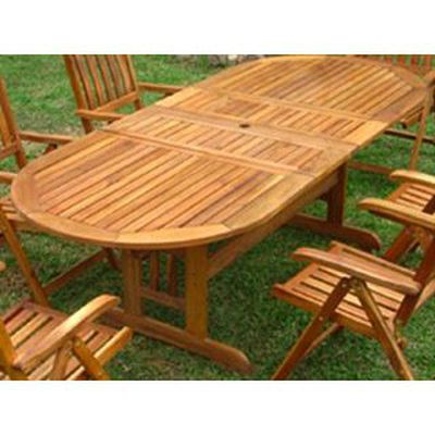 Table de jardin ovale bois ACAPULCO avec rallonges - Achat / Vente ...
