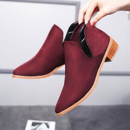 Femmes Boucle Dames Faux Solide Bottes Chaudes Bottines Martin Chaussures @XMM71215532RD Rouge Rouge - Achat / Vente botte