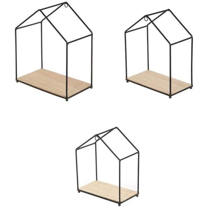 Filaires en forme de maison - Bois et métal - Dimensions : 23x27x13 / 20x24x11 / 17,5x20,5x9,5 cmETAGERE MURALE - ECHELLE ETAGERE