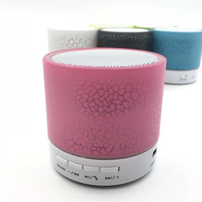 Portable Haut-parleurs Rose Electronique Bluetooth Sans Fil Led Mini Barreson Musique Audio Tf Fm Lumière