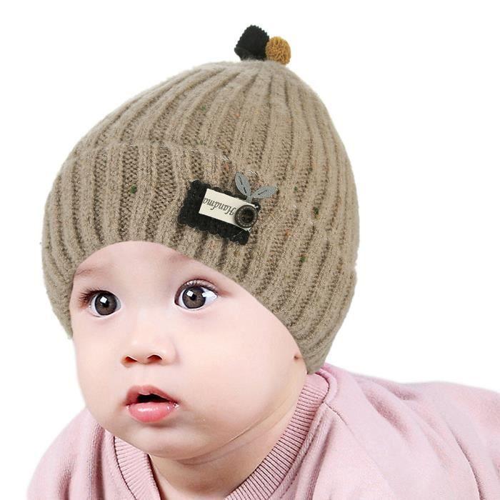 306705f7d4a Cache-Oreille Feuille Tache Photographie Enfant Garçon Bonnet De Laine Bébé  Fille Deux Couches Taille Unique Hiver Automne