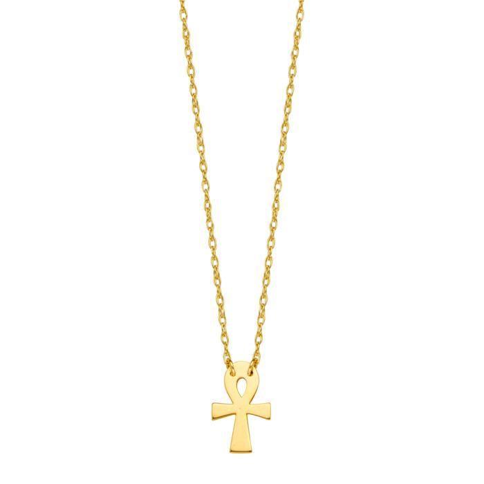 Collier pendentif croix en or jaune 14K Mini Ankh, 16 à 18 pouces réglable