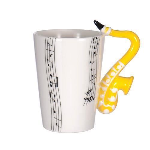 Tasse Forme Créatif Une Caféà Cadeau En Céramique Laità Avec Orange Thé Pour Guitare Musique Comme À Poignée De b7yf6g