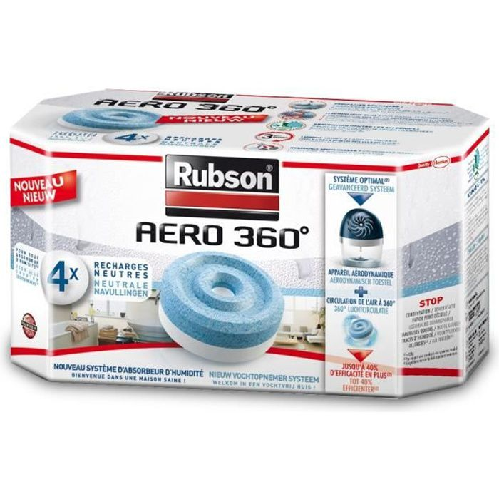 ABSORBEUR D'HUMIDITÉ Recharge absorbeur humidité Aero 360° x4 - RUBSON