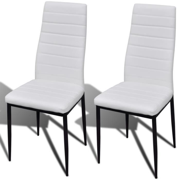 Lot De 2 Chaises Salle à Manger Moderne Blanc