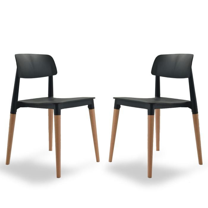 CHAISE Lot De 2 Chaises Design Glamwood Couleur Noir
