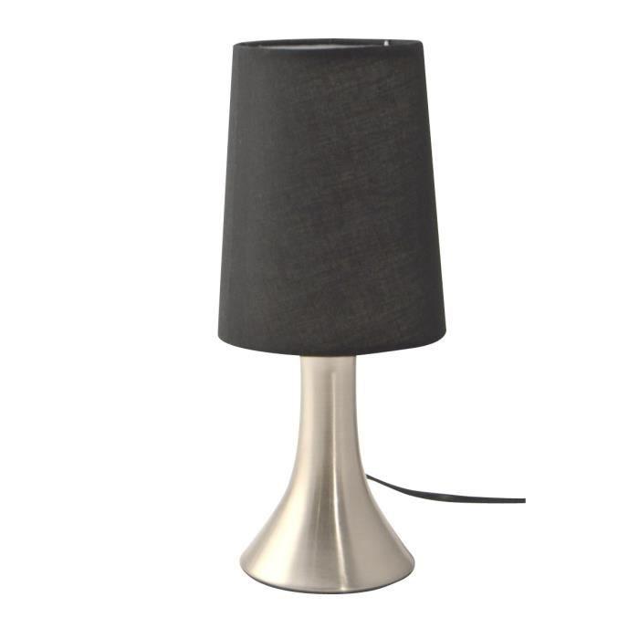 Lampe de chevet tactile avec abat jour noir h28 cm - Abat jour lampe de chevet ...