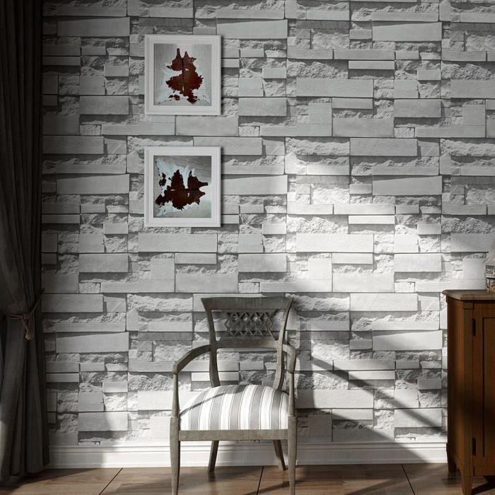 3d Papier Peint Intisse Style Modern Simple 10m Gris