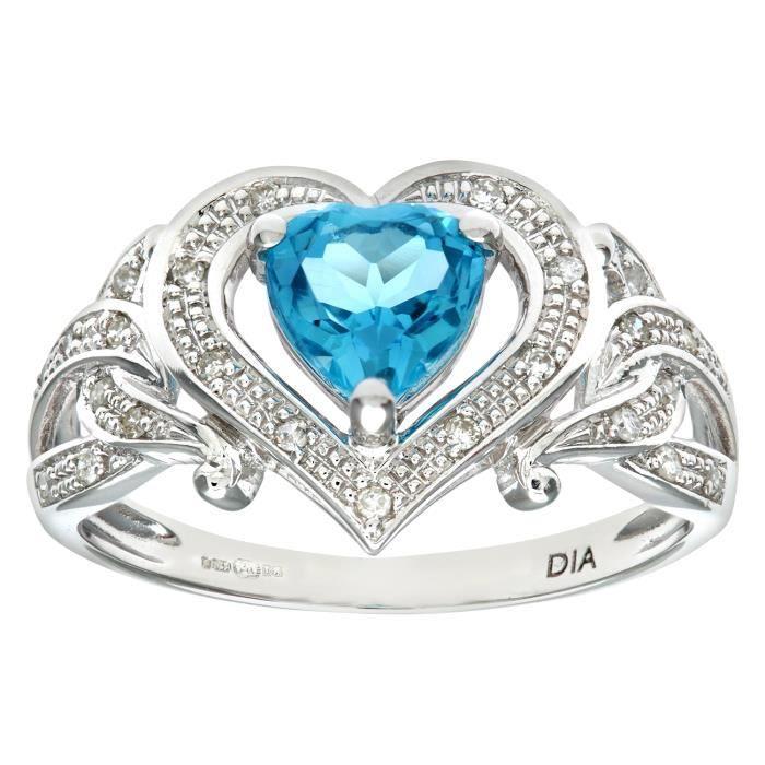 11317c678e1 Revoni Bague Topaze bleu et Diamant Or Blanc 375° Femme  Poids du diamant    1 ct - CD-PR08826WBT-P