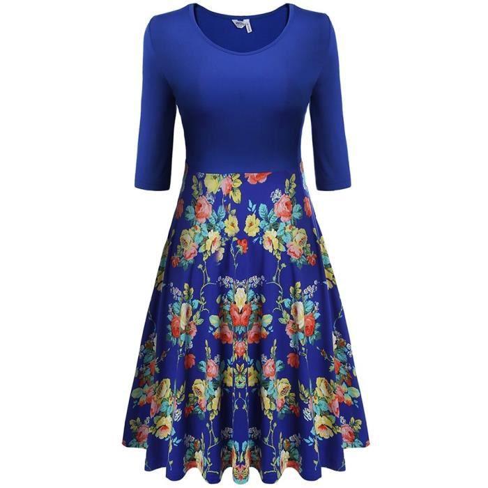 Robe Femmes moyenne manche plissé Slim Swing grand imprimé Floral