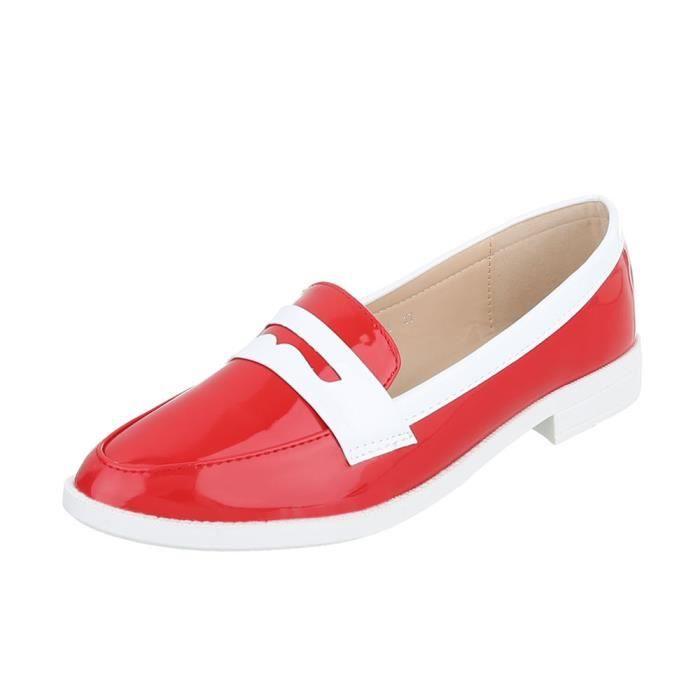 Femme Fl Bleu Mocassin Fonc noir Rouge Chaussures beige 41 neurs 54xRdI56wq