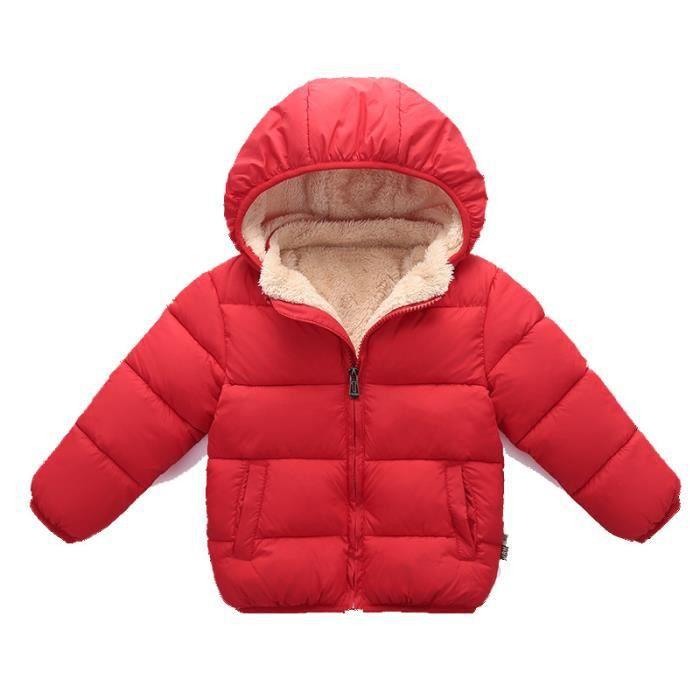 c1da64555549 Hiver Coton vêtement parka Enfants épaissie manteau veste Trench coat jacket  avec capuche blouse rouge