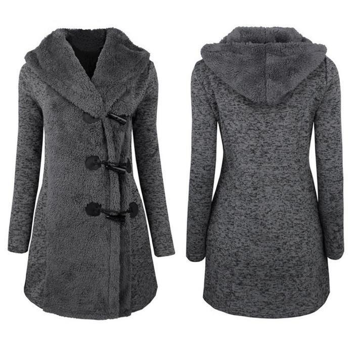 hiver chaud Boutons Femmes Mode plus à manteau épais Pardessus BR75wqX