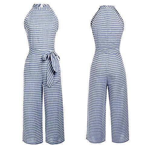 comment commander où puis je acheter profiter du prix de liquidation Combinaison Pantalon Femme Mode sans Manches Rayé été Vêtements Large à  Jambes Combipantalon Boheme Fête Soirée