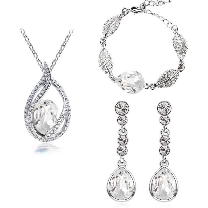 Parure goutte sertie de cristaux SWAROVSKI ELEMENTS plaqué or blanc couleur Blanc