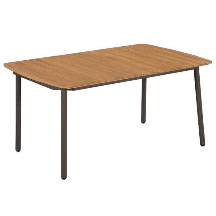 VidaXL Table d\'extérieur Bois d\'acacia solide et acier 150x90x72 cm ...