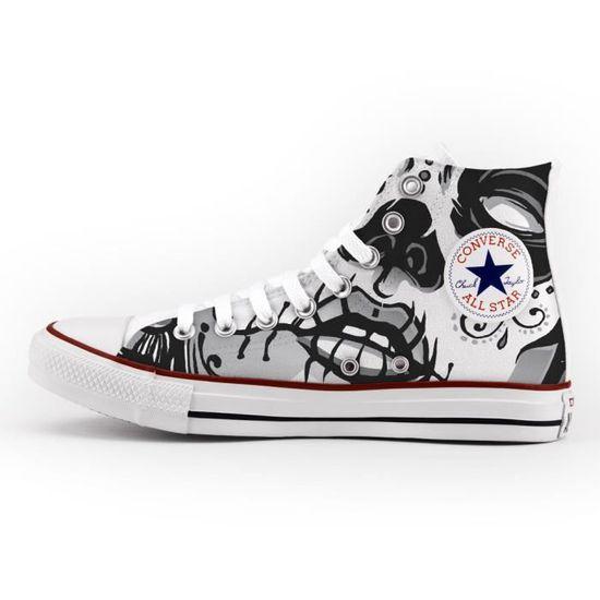Converse All Star Personnalisé et imprimés chaussures à la main Skull