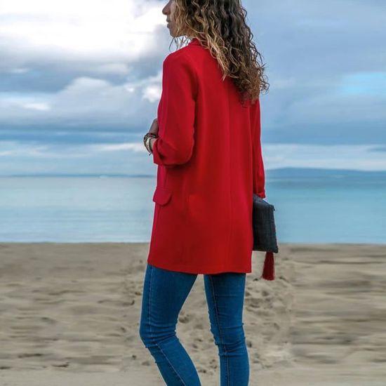 Couleur Ouvert À Mode Avant Manteau Vestes Seasondu Longues Féminine Manches Cardigans Solide x0zHwZq