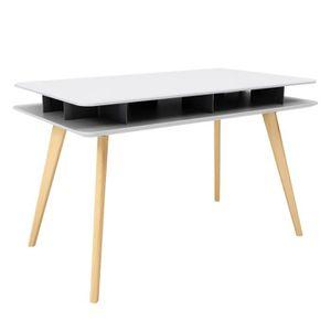 best bureau design blanc et bois achat vente bureau design blanc et with bureau design blanc laqu amovible max - Bureau Blanc Et Bois