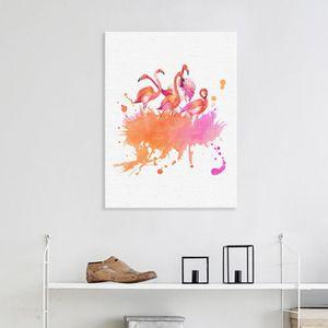 TABLEAU - TOILE (Avec cadre intérieur)Aquarelle Abstrait Flamingo