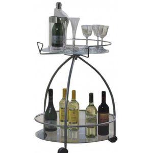 TABLE D'APPOINT Table de verre et bouteilles, D57 x H75 cm