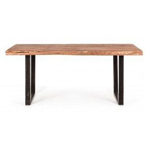 TABLE À MANGER SEULE Table en bois d'acacia et fer - Dim : L 180 x P 90