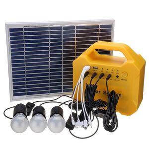 KIT PHOTOVOLTAIQUE TEMPSA Panneaux Solaire Batterie Système 3 Ampoule