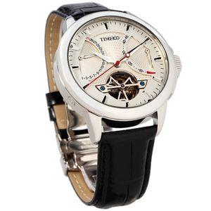 24ff371e1b6bf Time100 Montre Homme Mécanique automatique à la classe Bracelet cuir  véritable Série de Navigateur Noire W70035G.01A