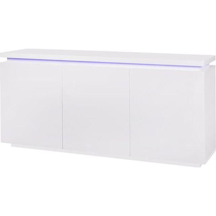 BLUE LIGHT Buffet 3 portes et luminaire led - Blanc - L 170 x P 40 x H 80 cm