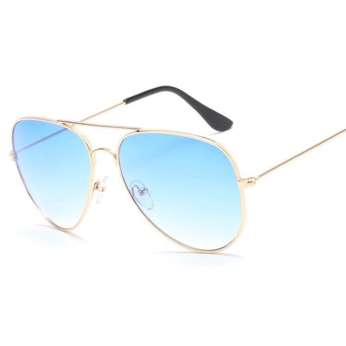 Lunettes de soleil soleil mixte homme et femme Fashion marque de Luxe sunglasses Métal Cadre Bleu
