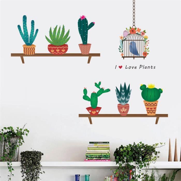 Creative Cactus Pot De Fleur Stickers Muraux Pour Salon Lit
