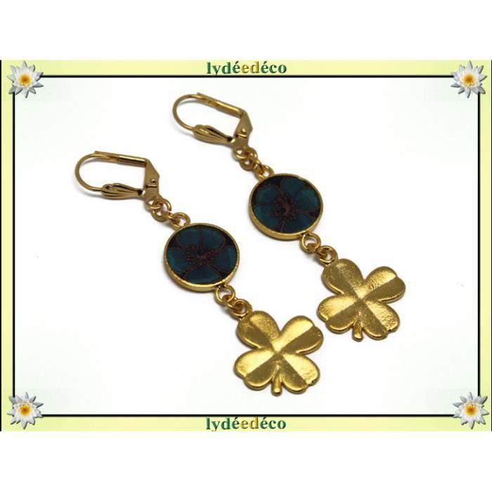 Boucles doreilles CHANCE en laiton doré or fin 24 carats trèfle 4 feuilles, couleurs bleu marron résine