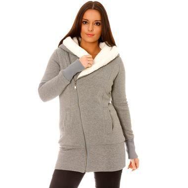 gilet gris veste grise chaud et pais molletonn capuche doubl de fourrure blanche extra. Black Bedroom Furniture Sets. Home Design Ideas