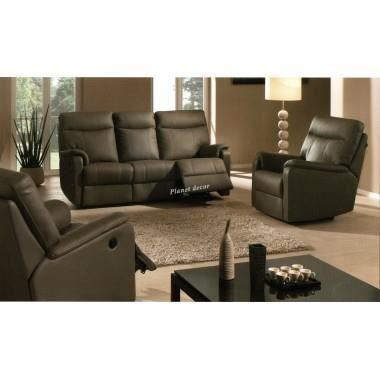 salon cuir relax modele COMO 3+2+1 gris-olive - Achat / Vente ...