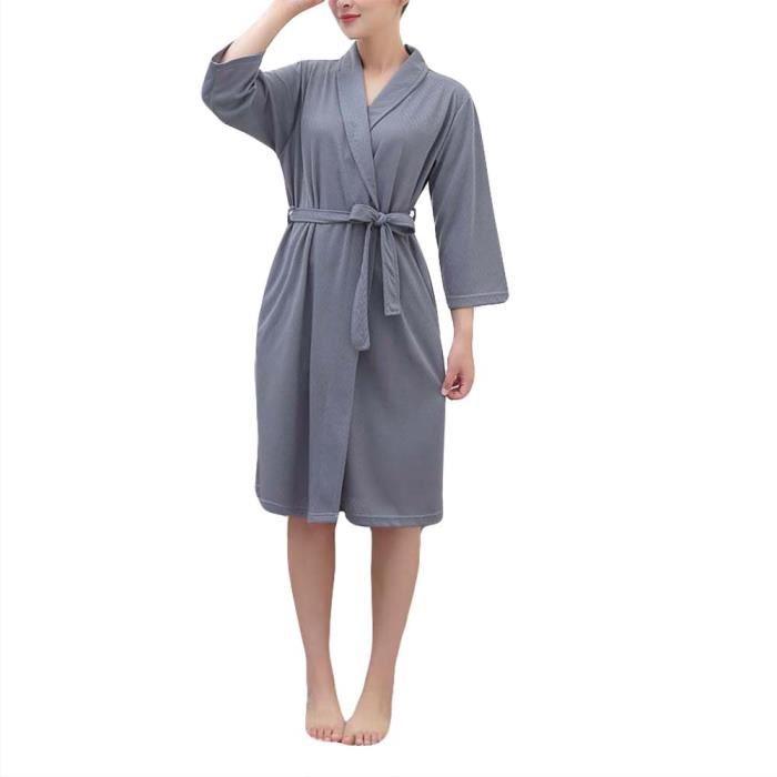 71b3740ccd84b Peignoir de Bain Femme Robe de SPA-Chambre en Coton Vêtement de Nuit ...