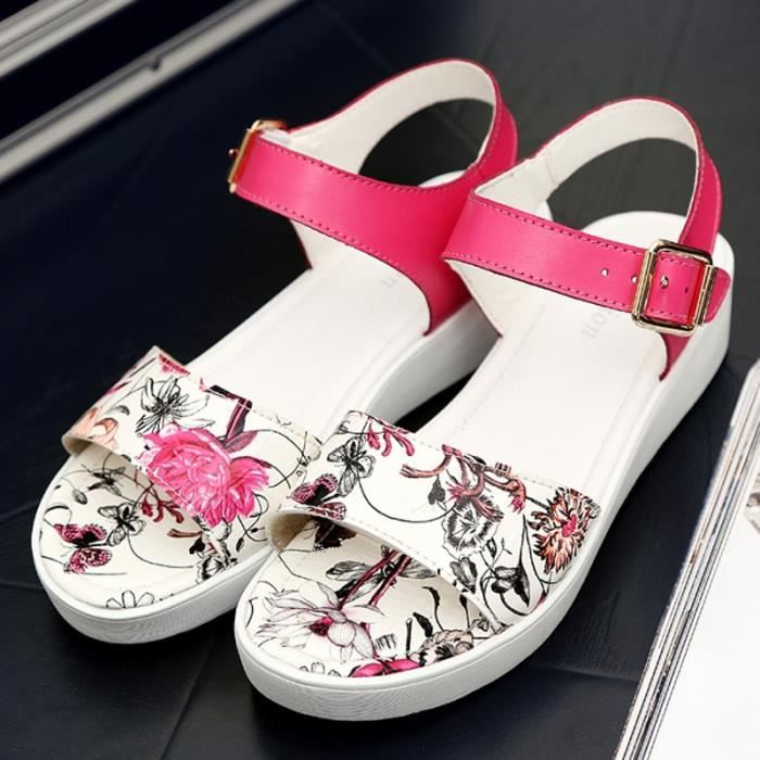 Mode Sandales d'été de la plate-forme florale d'impression pour les femmes