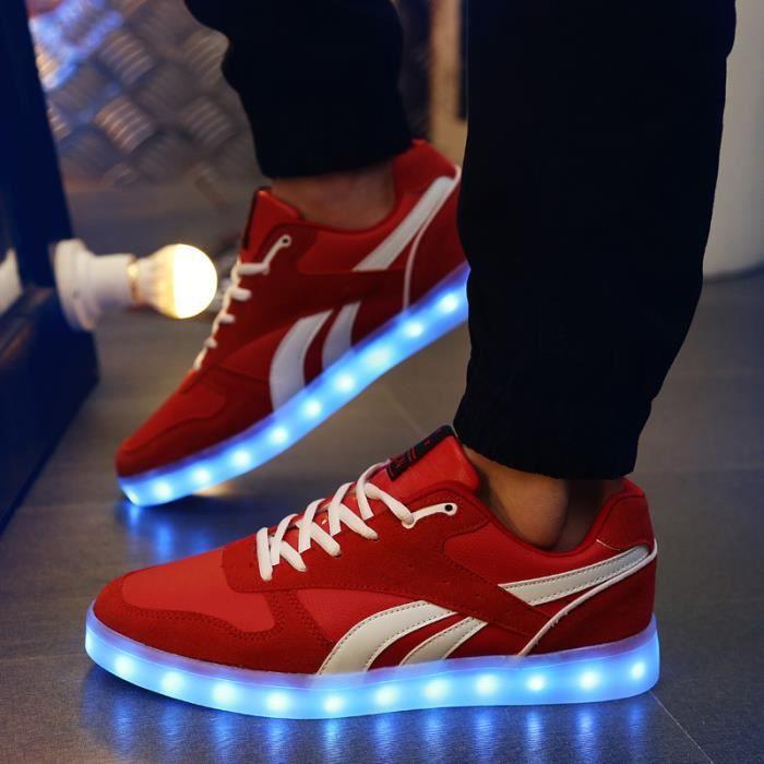 Homme chaussuresLoisirs LED 7 Couleur USB Chaussures de sport Ce38JTF