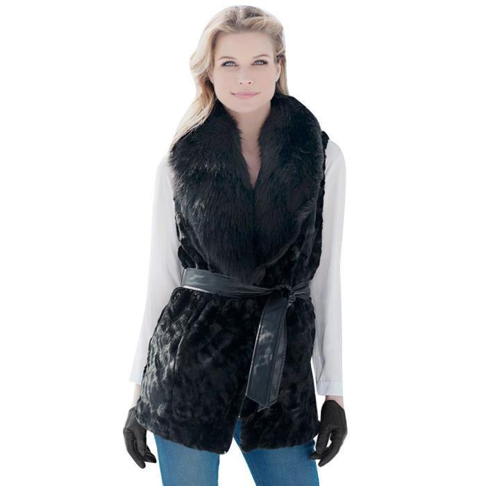 en stock sélection mondiale de prix de détail Femmes Fausse Fourrure Dames Gilet Sans Manches Gilet Veste Gilet Shrug  Coat Outwear@Noir