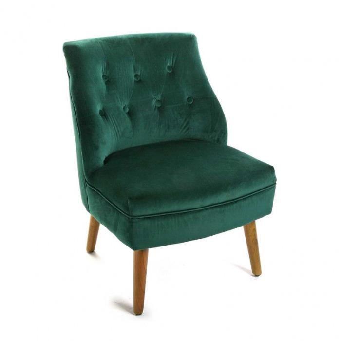 fauteuil crapaud velours vert taille l 54 x l 62 x h 73 cm achat vente fauteuil vert. Black Bedroom Furniture Sets. Home Design Ideas