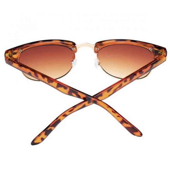 lunettes de soleil brun Vintage Style unisexe Metal Frame plastique Temple circulaire