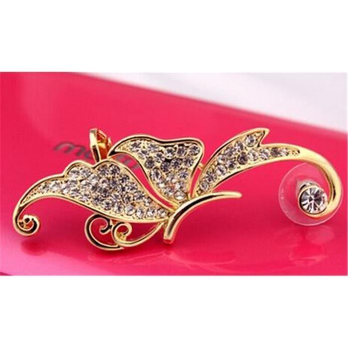 Accessoires pour femmes 1pcs or cristal blanc papillon oreille sur loreillette gauche (e01)