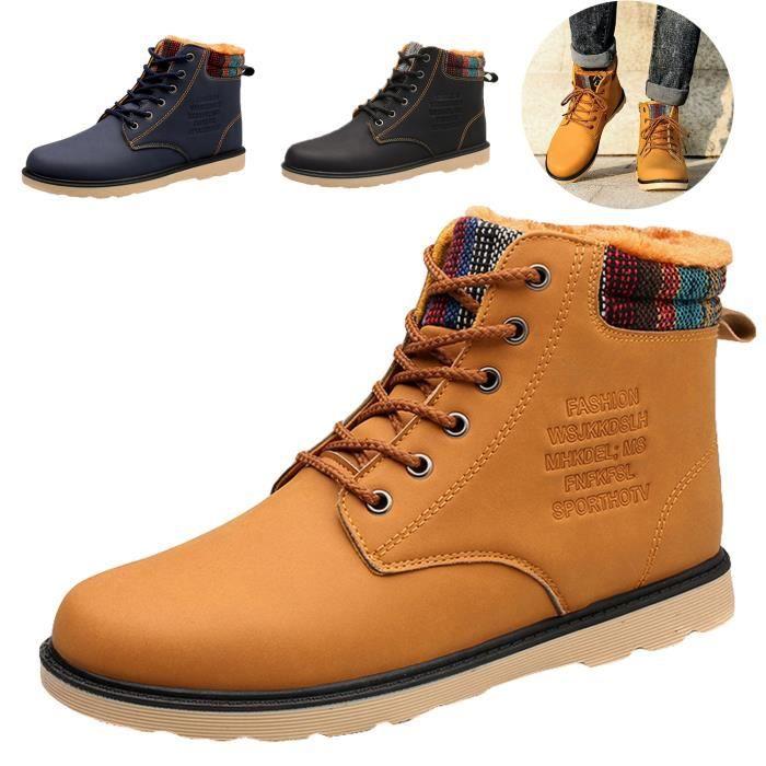 Bottes Fourrées Homme Hiver Chaussure Montante Bottes de Neige a lacets Doublure Interne Homme Doublure Fourrure