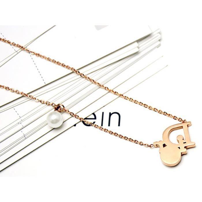 Collier femme Lettres D perle plaqué 18K or ros Zirconcolliers acier au titane bijoux
