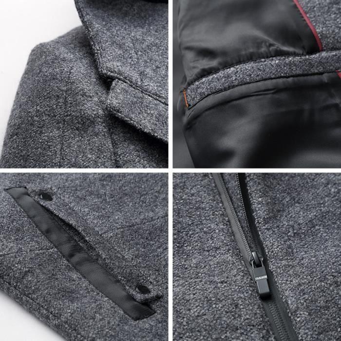En Laine Capuche Casual Urban Manteau Classics Homme A gris Noir wt7EqxxR
